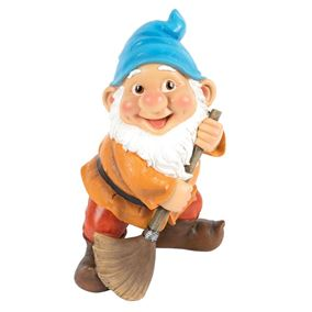 Garden Gnome with Sweeping Brush