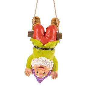 Hanging Upside Down Colourful Garden Gnome