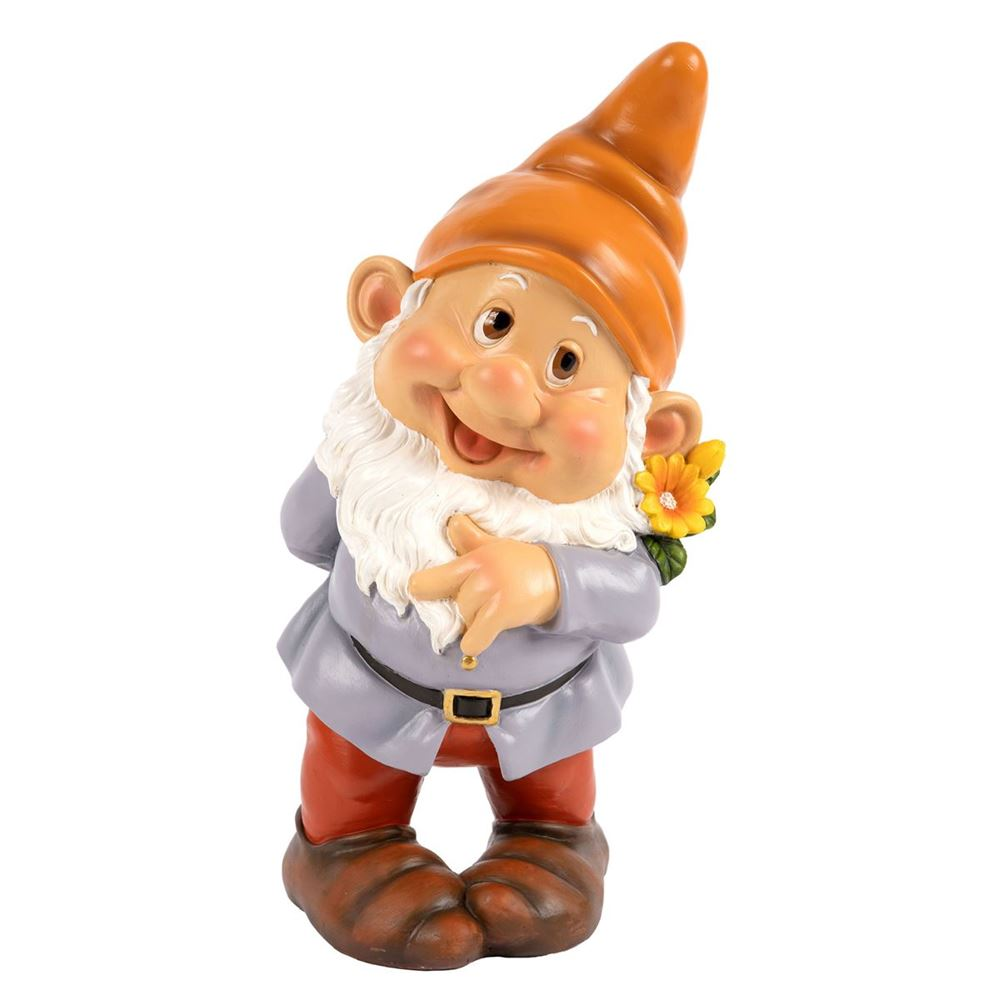 Garden Gnome with Sweeping Brush Indoor Outdoor Novelty Decor