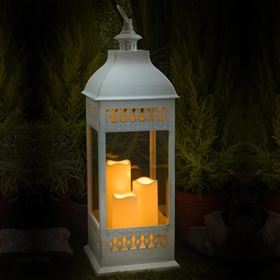 Blenheim White Lantern With 3 Battery Operated Candles