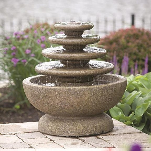 Four Tier Gozo Fountain On Petal Pool