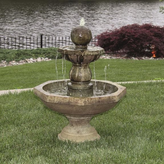 Opal Octagonal Fountain Cast Stone Water Feature (Everglade Stone)