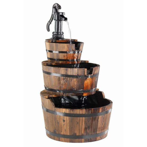 3 Tier Wooden Barrel Garden Solar Powered Water Feature with Cast Iron Pump