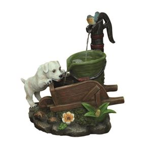 Solar Powered Dog at Wheel Barrow Water Feature