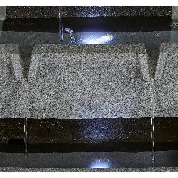 additional image for Solar Powered Stacked Troughs Water Feature with LED Lights