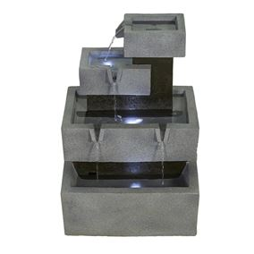 Solar Powered Stacked Troughs Water Feature with LED Lights