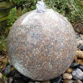 60cm Granite Polished Pink Drilled Sphere Water Feature Kit with LED Lights