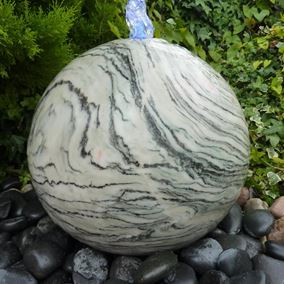 40cm Polished Drilled Wave Marble Sphere Water Feature Kit with LED Lights