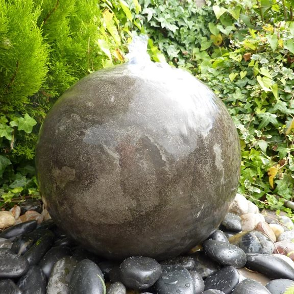 40cm Polished Black Limestone Sphere Water Feature Kit with LED Lights