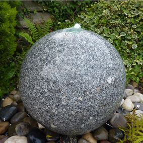 35cm Granite Sphere Drilled Water Feature Kit