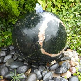 40cm Polished Drilled Yimeng Flower Granite Sphere Water Feature Kit with LED Lights