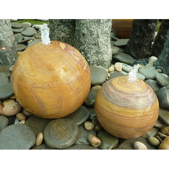 additional image for 30cm Rainbow Sandstone Drilled Sphere Water Feature Kit