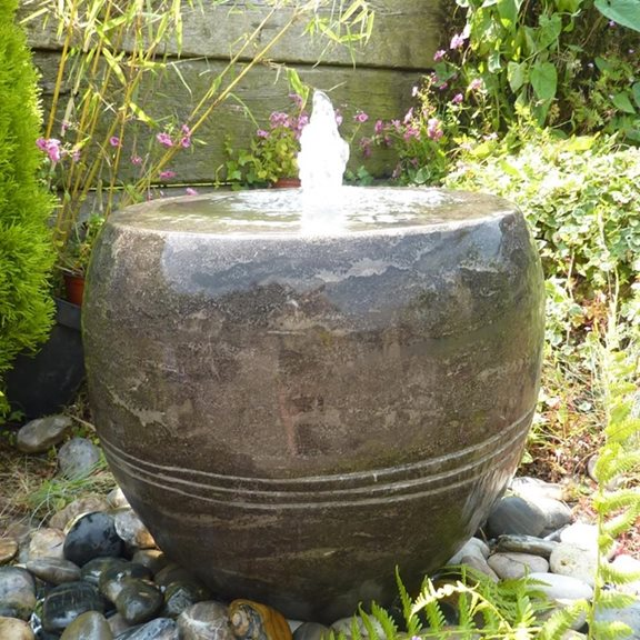 additional image for Black Limestone Vase Planter Fountain Water Feature Kit