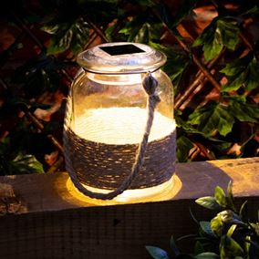 Solar Powered Glass Lit Hanging Jar with Rope Handle