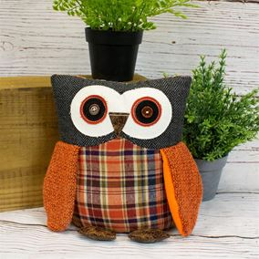 Cute Ollie the Owl Shabby Chic Patchwork Doorstop