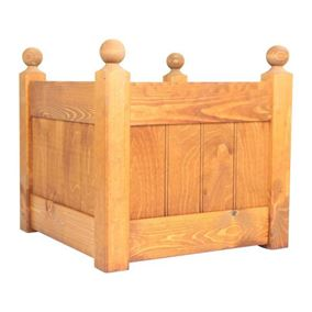 15'' Classic Beech Stain Wooden Planter Trough with Plastic Liner