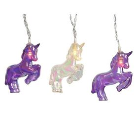 Set of 10 Indoor Battery Powered Iridescent Unicorn String Light