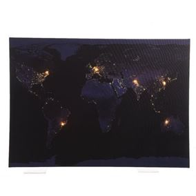 70cm The World Map LED Lit Wall Canvas