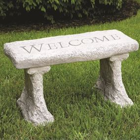 Cast Stone Garden Bench - Angels Gather Here