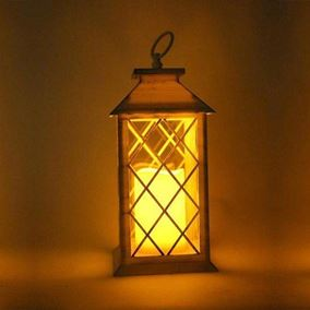 Square White Candle Lantern (Battery Operated)