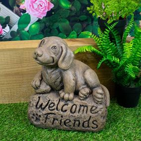Welcome Friends Beagle Stone Garden Ornament