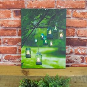 Hanging Multi coloured Glass Scene Lit Battery Powered Wall Canvas