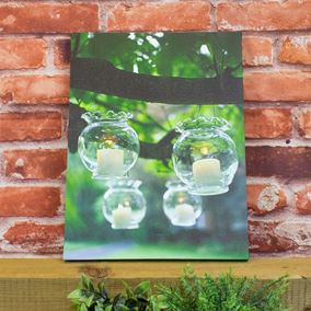 Hanging Glass Scene Battery Powered Lit Wall Canvas