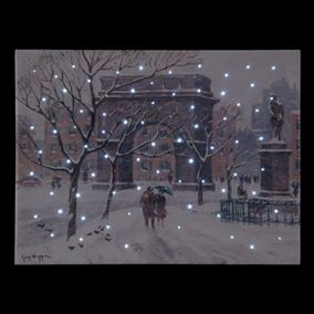 Washington Square In Winter Fibre Optic Wall Canvas (Battery Operated)