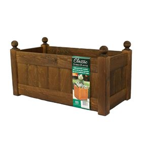26'' Classic Chestnut Stain Wooden Planter Trough with Plastic Liner