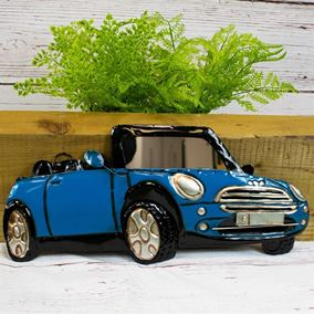 Blue Mini Convertible Car Indoor Outdoor Garden Wall Art