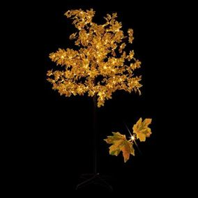 1.5m Pre Lit Brown Maple Leaf Tree with 150 Warm White LEDs