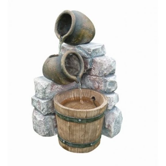 Medium Two Pots & Wooden Barrel Water Feature
