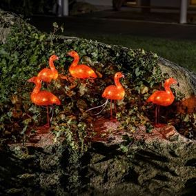 Set of Five Acrylic Flamingos with 40 White LEDs