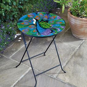 Extra Large Peacock Glass Folding Garden Table