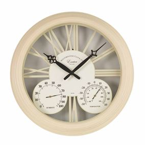 Cream Exeter Garden Wall Clock & Thermometer