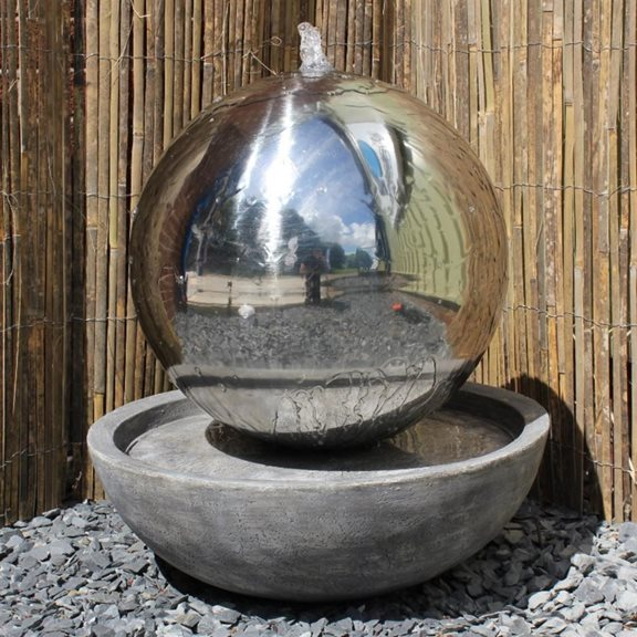 50cm Solar Powered Stainless Steel Sphere & Resin Bowl Water Feature