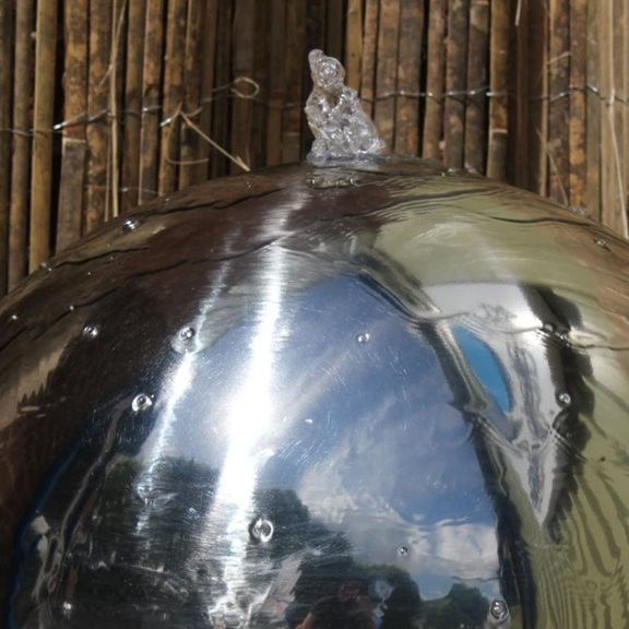 additional image for 50cm Solar Powered Stainless Steel Sphere & Resin Bowl Water Feature