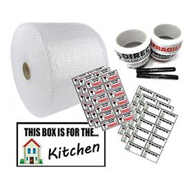 Moving House Packaging Storage Kit with Large Roll Bubble Wrap Marker Pens Quality Fragile Tape Fragile Stickers and Blank Room Stickers