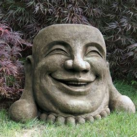 Oriental Laughing Hoi Toi Face Cast Stone Garden Ornament