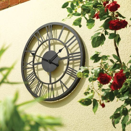 Roman Numeral Metal Garden Clock (34cm)