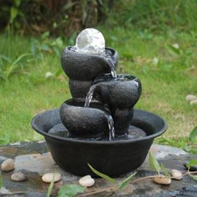 3 Bowls Crystal Ball Indoor Water Feature