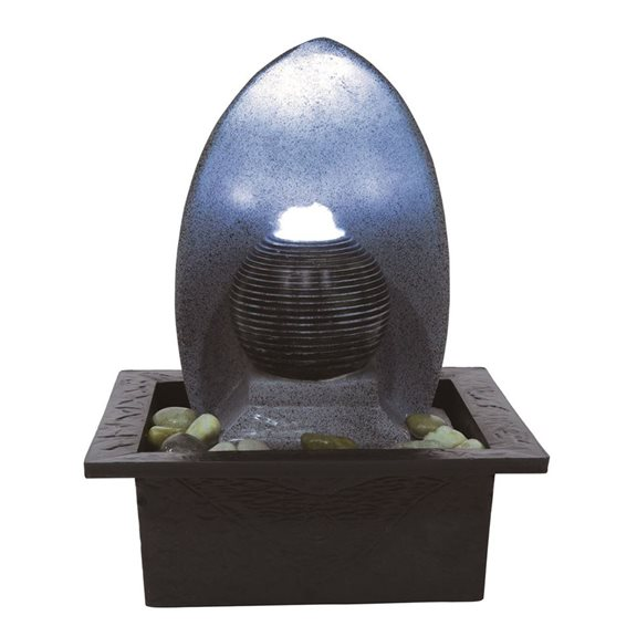 Perano Ribbed Ball LED Lit Indoor Water Feature