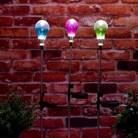 Coloured Retro Bulb Solar Powered Garden Stake Light (Triple Pack)