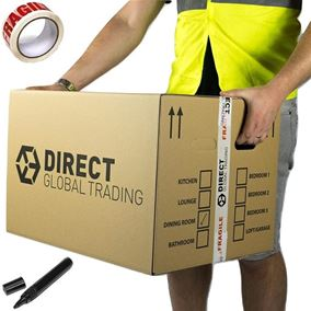 15 Strong Extra Large Cardboard Storage Packing Moving House Boxes Double Walled with Carry Handles and Room List Quality Fragile Tape and Marker Pen 60cm x 45cm x 40cm