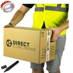 15 Strong Cardboard Storage Packing Moving House Boxes Double Walled with Fragile Tape Black Marker Pen Carry Handles and Room Tick List 47cm x 31.5cm x 30cm 44 Litres