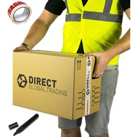 10 Strong Cardboard Storage Packing Moving House Boxes Double Walled with Fragile Tape and Black Marker Pen 47cm x 31.5cm x 30cm 44 Litres