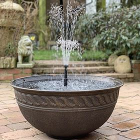 Lotus Bronze Finish Bowl Patio Pond Water Feature with White LED Spotlight