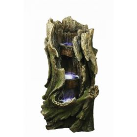 3 Level Tree Trunk Water Feature with LED Lights