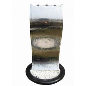 Stainless Steel Curved Cascade Water Feature with LED Lights