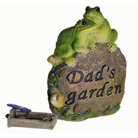 Dad's Garden Ornament with Frogs and Hidden Key Draw